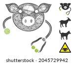 vector wire frame pig... | Shutterstock .eps vector #2045729942