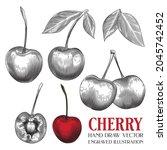 cherry  hand draw vector ...   Shutterstock .eps vector #2045742452