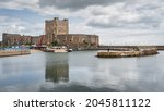 12th century, medieval Carrickfergus Castle, a Norman castle, situated in the town of Carrickfergus in County Antrim, Northern Ireland