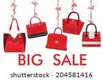 fashion red handbag hang on a... | Shutterstock .eps vector #204581416