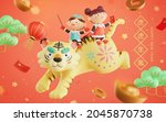 3d cute Asian kids riding on a tiger with other Chinese new year objects flying around. Concept of oriental zodiac sign. Translation: Enjoy a powerful life like a strong tiger