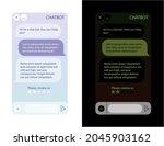 chat bot window. dark and light ...