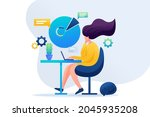 girl working at the remote work....   Shutterstock . vector #2045935208