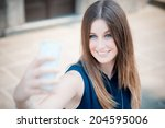 young beautiful hipster woman... | Shutterstock . vector #204595006