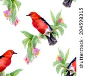 wild exotic birds on twig and... | Shutterstock .eps vector #204598315