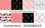 wild flower minimal seamless...   Shutterstock .eps vector #2046080615