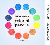big set of colored spots crayon ... | Shutterstock .eps vector #204608572