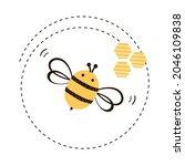 Bee Cartoon Logo With Circle...