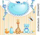 baby shower card with toys. | Shutterstock .eps vector #204616642