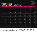 calendar 2022 year. december...   Shutterstock .eps vector #2046171692