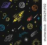 seamless pattern with rocket...   Shutterstock .eps vector #2046291932