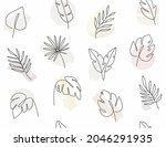 seamless pattern with leaves...   Shutterstock .eps vector #2046291935