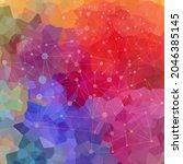 multi colored mosaic. rainbow... | Shutterstock .eps vector #2046385145