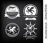 restaurant menu set of seafood  ... | Shutterstock .eps vector #204639046