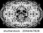 A Black And White Skull...