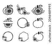 design elements with pumpkin... | Shutterstock .eps vector #2046489995