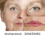old wrinkled face close up | Shutterstock . vector #204650482