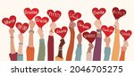 raised arms and hands of multi... | Shutterstock .eps vector #2046705275
