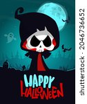 grim reaper cartoon character... | Shutterstock .eps vector #2046736652