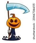 grim reaper pumpkin head... | Shutterstock .eps vector #2046736655