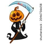 grim reaper pumpkin head... | Shutterstock .eps vector #2046736658
