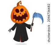 grim reaper pumpkin head... | Shutterstock .eps vector #2046736682