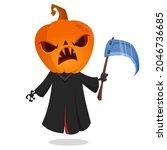 grim reaper pumpkin head... | Shutterstock .eps vector #2046736685