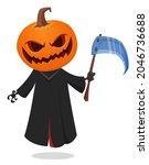 grim reaper pumpkin head... | Shutterstock .eps vector #2046736688