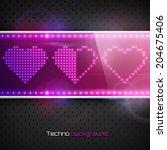 hearts on digital screen....