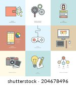 collection of flat design icons.... | Shutterstock .eps vector #204678496