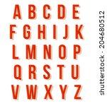 nice red retro alphabet set | Shutterstock .eps vector #204680512