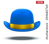 blue bowler hat with silk... | Shutterstock .eps vector #204682765