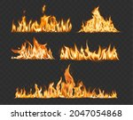 vector set flame and bonfire on ... | Shutterstock .eps vector #2047054868