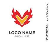 love and fire logo design... | Shutterstock .eps vector #2047093172