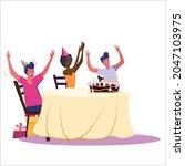 birthday party set vector... | Shutterstock .eps vector #2047103975