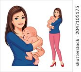 beautiful mother with her cute... | Shutterstock .eps vector #2047105175