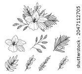 beautiful spring line art... | Shutterstock .eps vector #2047112705