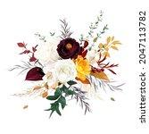 rust orange  beige  white rose  ... | Shutterstock .eps vector #2047113782