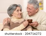 cute old couple drinking coffee ... | Shutterstock . vector #204716272