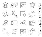 seo icons set. seo pack symbol... | Shutterstock .eps vector #2047183268