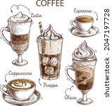 coffee types illustration... | Shutterstock .eps vector #2047197728