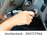 hand holding car key for... | Shutterstock . vector #204727966