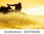 strong man drive on the jet ski ... | Shutterstock . vector #204738538