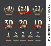 vector set of anniversary... | Shutterstock .eps vector #204740962
