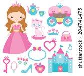 vector illustration of princess ... | Shutterstock .eps vector #204741475
