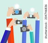 modern flat photographers hands ... | Shutterstock .eps vector #204746836