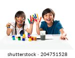 two smiling little kids at the... | Shutterstock . vector #204751528