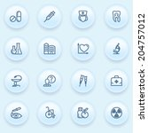 medicine icons on blue buttons. | Shutterstock .eps vector #204757012