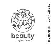 organic beauty emblem template. ... | Shutterstock .eps vector #2047628162