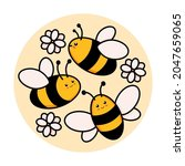 Cute Set Of Bees In A Round...